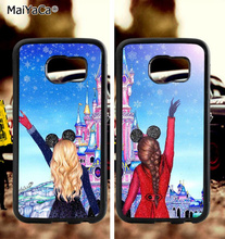 BFF good sisters two girls soft TPU edge mobile phone cases for samsung s6 plus s7 s8 s9 s10 lite e note 8 9