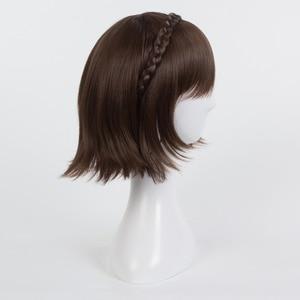 Image 2 - Persona 5 Makoto Niijima Wigs Mixed Brown Hair Cosplay Wig With Braid + Wig Cap