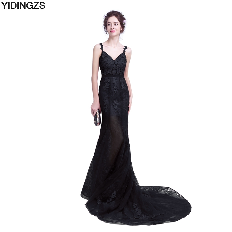 YIDINGZS Mermaid Lace Prom Gown Black Party Sexy Long Prom Dress
