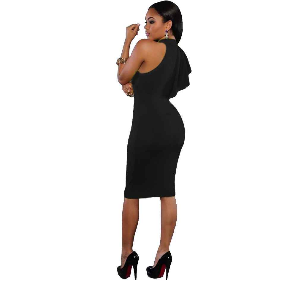 94c8800e6653 Fashion Dress Women Clothes One Shoulder Ruffle Sleeve Midi Dresses Online  Shopping India Alibaba Bodycon Dress S Shaped LC61094-in Dresses from  Women s ...