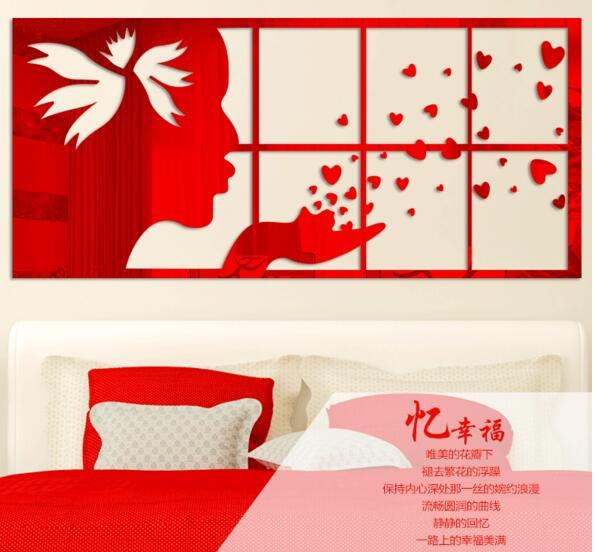 Bricolage 3D acrylique miroir brevet ange mur autocollant mur art photo décoration canapé fond stickers muraux filles chambre décoration