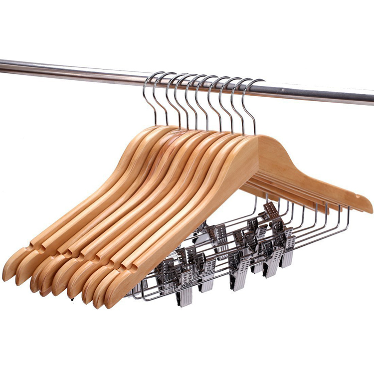 Hangerlink Wooden Suit Hangers with Polished Clips and Hooks Natural Wood Wooden Clothes Hangers 10 pieces