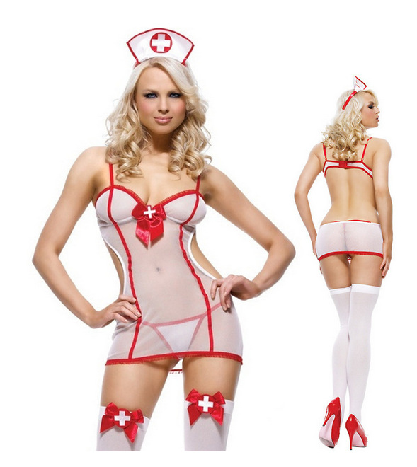 New Womens Sexy Underwear Set Sexy Nurse Outfit Adult Play Role Uniforms Sexy Nurses Perpective Dress Costumes
