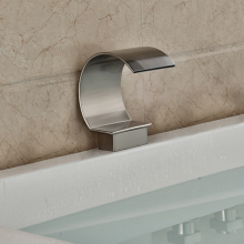 Arc Shape Free Shipping Waterfall Faucet Spout Bathroom Taps Without Switch Brushed Nickel Finish