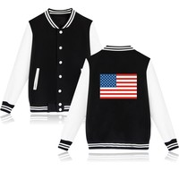 USA Fashion Black Causal Baseball Jacket Women Spring Jacket O Neck Long Sleeve Womens Winter Jackets