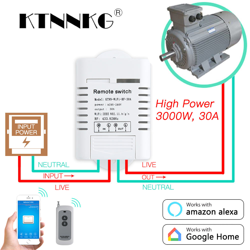 30A AC 110V 220V Wifi Switch 1CH Relay automation