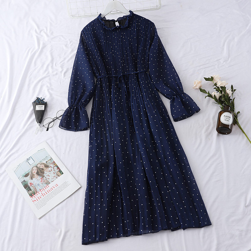 LUOSHA Women 2019 Spring Summer Vintage Stand Collar Polka Dot Flare Sleeve Pleated Loose Casual Dress Female Basic Vestios 4