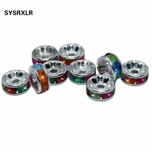 Wholesale 100 Pcs 6 /8 MM Colour Silver Plated Metal Rondelle Spacer Beads Rhinestone Loose Crystal Diy For Jewelry Making