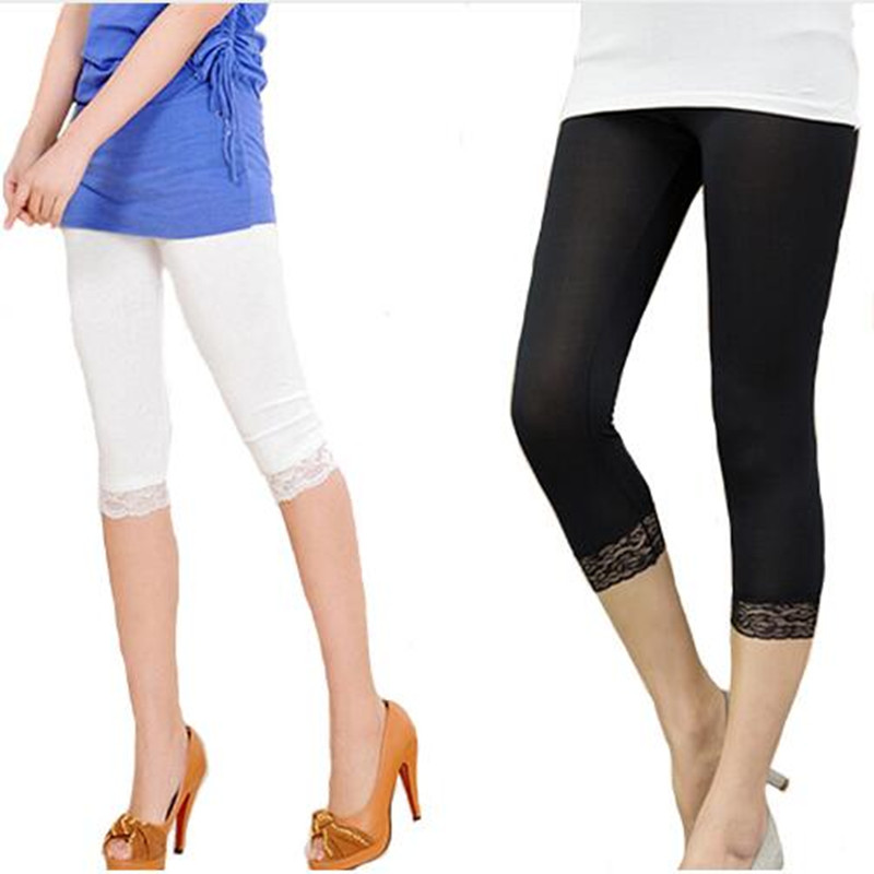 Women Crop 3/4 Length Leggings Black White Lace Decoration Leggings Summer Elastic Bodycon Jeggings kleider weit