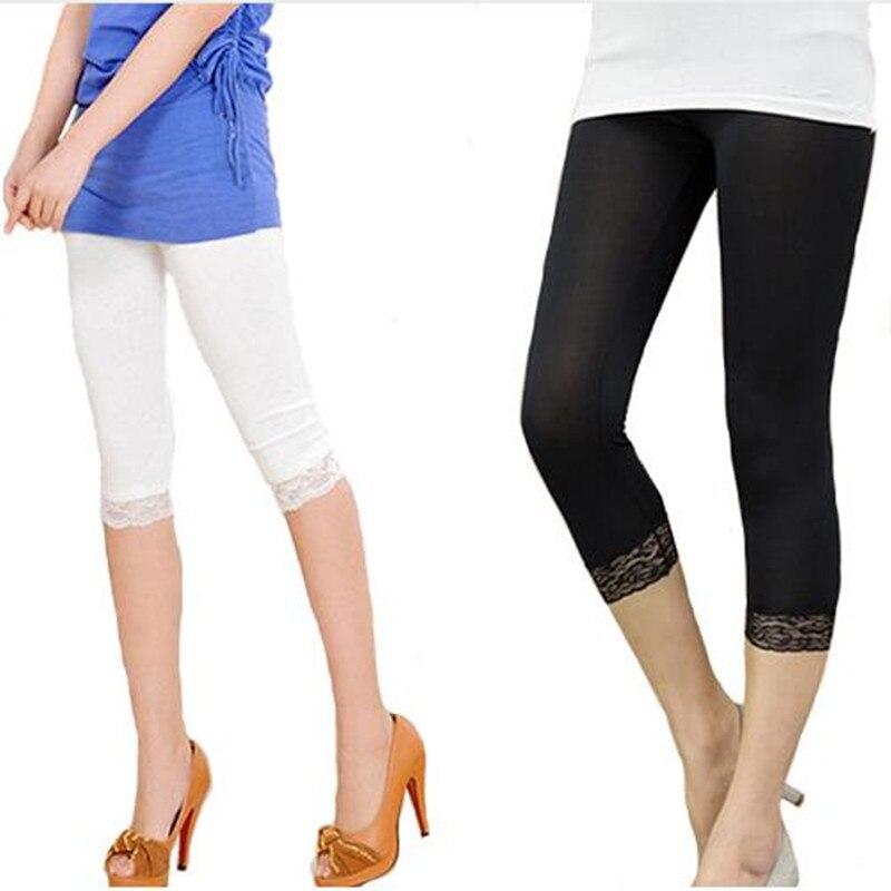 Women Crop 3/4 Length Leggings Black White Lace Decoration Leggings Summer Elastic Bodycon Jeggings