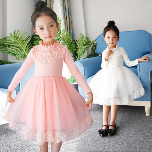 White Pink Kids Spring Autumn Dresses For Girls Children Party Wedding Christmas Tutu Princess Dress Girls Ball Gown Dress 3-12 uoipae party dress girls 2018 autumn