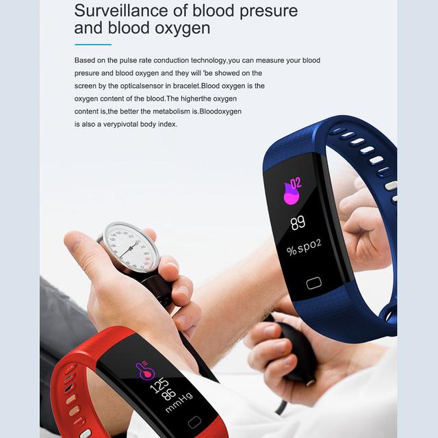 Smart Band Heart Rate Blood Pressure Monitor High Brightness Colorful Screen Smart Bracelet Wristband Notification
