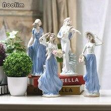 NOOLIM, Элегантные керамические статуэтки богини, женские статуэтки, украшения для комнаты, свадебные украшения, фарфоровая статуэтка, домашний декор