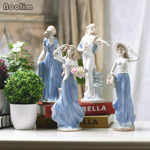 NOOLIM Elegant Ceramic Goddess Lady Figurines Crafts Room Decor Wedding Handicraft Ornament Porcelain Statue Home Decor