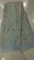 newly style french net lace with glued glitter hot sale JRB-6803 african tulle lace fabric for fashion dress