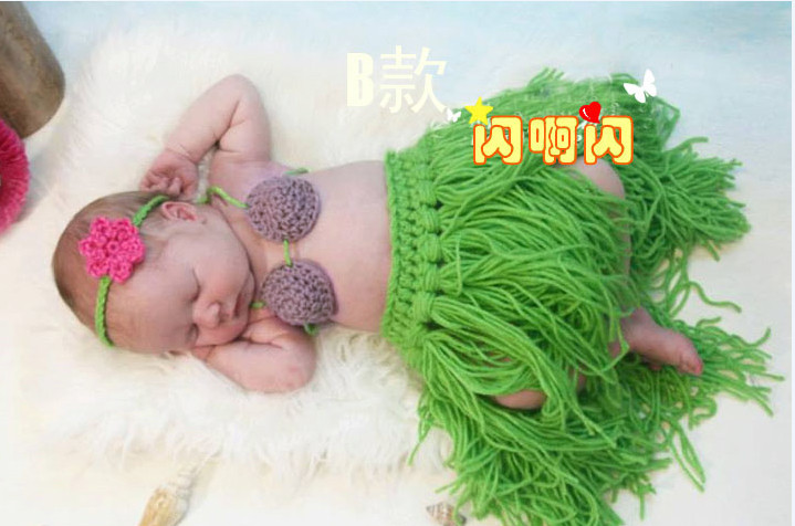 Newborn baby girl boy handmade beach grass skirt outfit photography props crochet fabric knitting caps hats 0 6 month - danda store