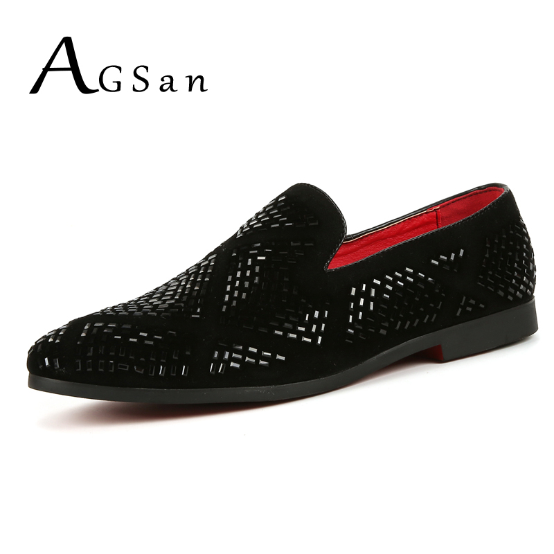 AGSan men velvet shoes rhinestone loafers luxury brand rivets studded dress shoes gold black spike suede loafers 10 9.5 45 flats