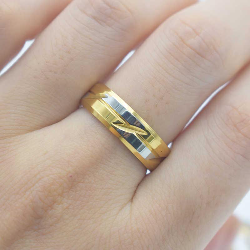 ใหม่ล่าสุดทองสีแหวนสแตนเลสผู้หญิงเครื่องประดับหมั้นงานแต่งงานแหวนแฟชั่นเครื่องประดับ RB049