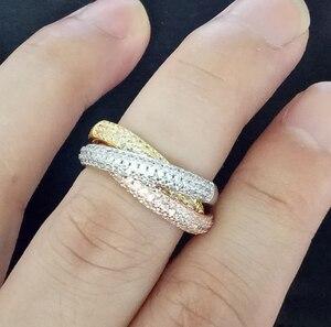 Image 3 - Bague Triple cercles, or Rose/argent, bijoux de luxe en trois couleurs, pavé dargent 925, cadeau de mariage pour femmes
