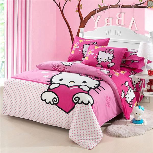 Hello kitty bedding set kids Cartoon Red black white ...