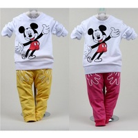 Mickey Boys Clothes Sets Fashion Character Children Sweater Pant Baby Sport Suits Girls Clothing Suit T-Shirt+Pant 0-4Years