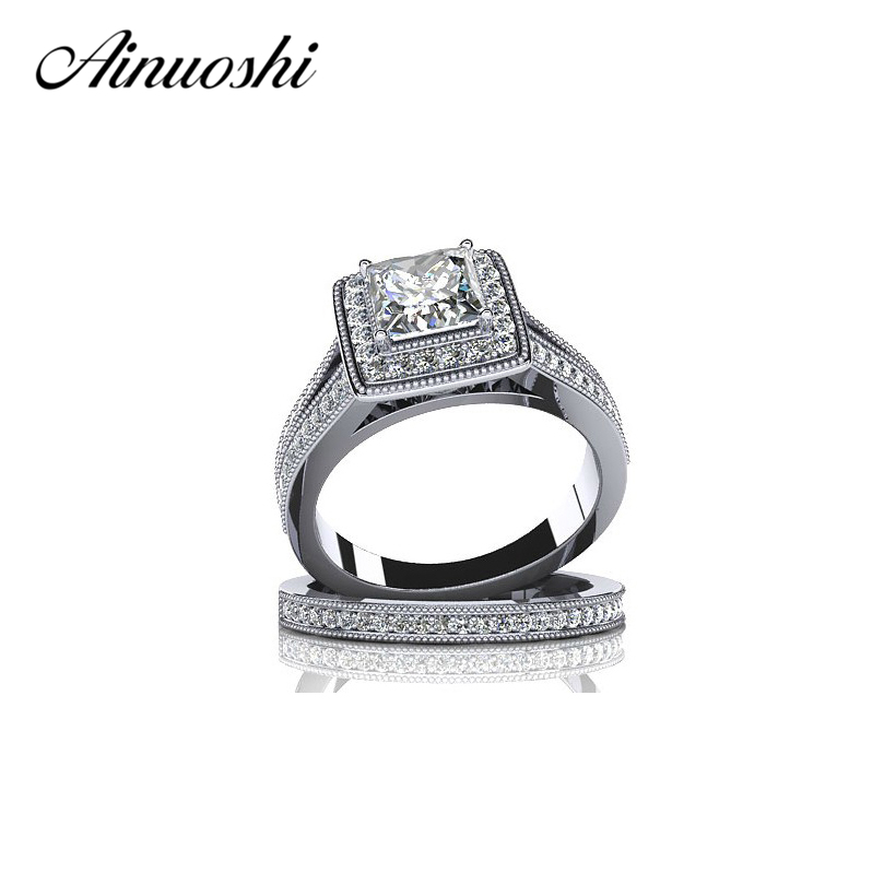 Free Shipping Hot Selling Ring Set Fashion 925 Sterling Silver 1 ct Princess Shiny NSCD Female
