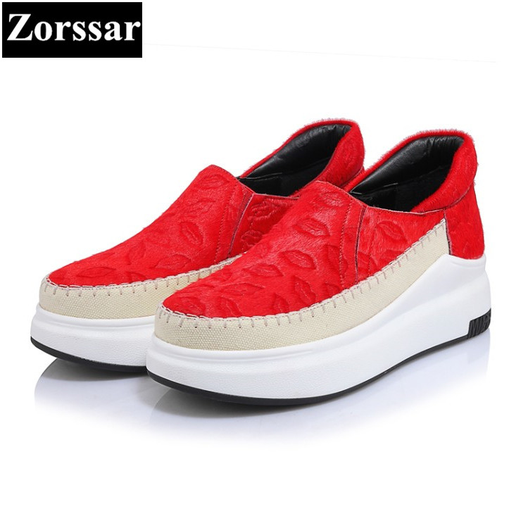 {Zorssar} 2017 Fashion Genuine leather Horsehair Womens Flats Creepers shoes Female Casual shoes Slip On women Platform loafers  qmn women genuine leather flats women horsehair loafers retro square toe slip on flat platform shoes woman creepers 34 42