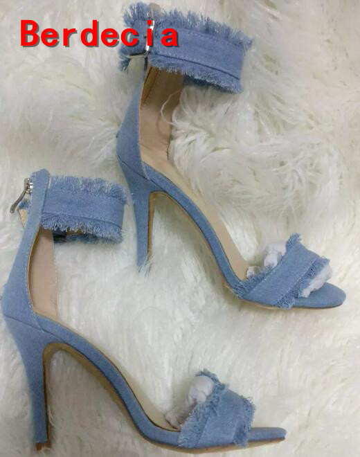 ФОТО 2017 summer high quality denim blue sandal for woman sexy open toe ankle strap high heel sandal office lady thin heels shoes