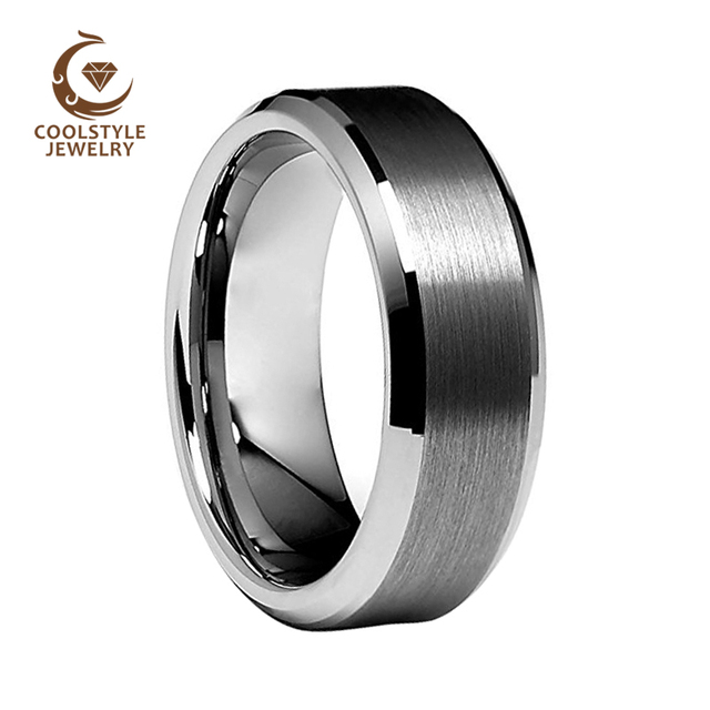 8mm Tungsten Carbide Men S Wedding Band Ring Comfort Fit Matte Finish Sizes 5 To 15