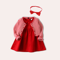 3pcs Baby Girl Dress For Christmas,knitting Coat+princess Dress Autumn Spring Baby 100 Days Gift Party Cute Kids Birthday Cloth