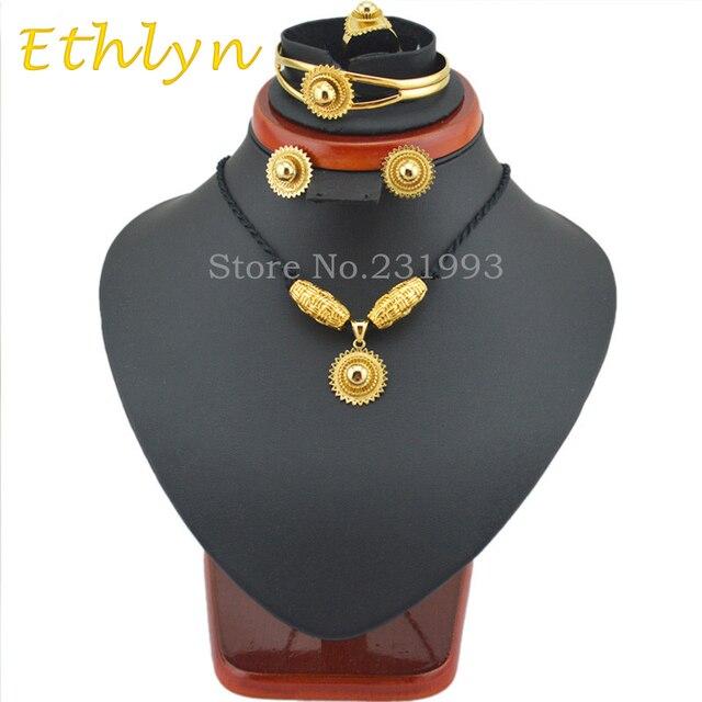 Ethlyn мода Новые DIY дизайн Эфиопии ювелирные наборы 22KGP Habesha Ювелирные Изделия Пять ШТ наборы для Эфиопских традиционный Фестиваль