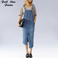 Plus Size Womens Irregular Bottom Denim Suspender Skirts 4XL 5XL Streetwear Denim Skirtall Strap Jeans Skirt