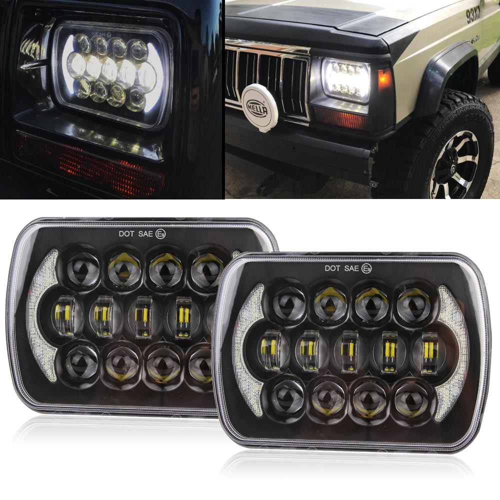 105W 5X7 7X6 inch Rectangular Sealed Beam LED Headlight With DRL for Jeep Wrangler YJ Cherokee XJ H6014 H6052 H6054 LED 1 Pair 5x7 inch 40w h4 led replacement for sealed beam with white drl amber turn signal 7x6 inch headlamp for truck fld 50 60 70 80