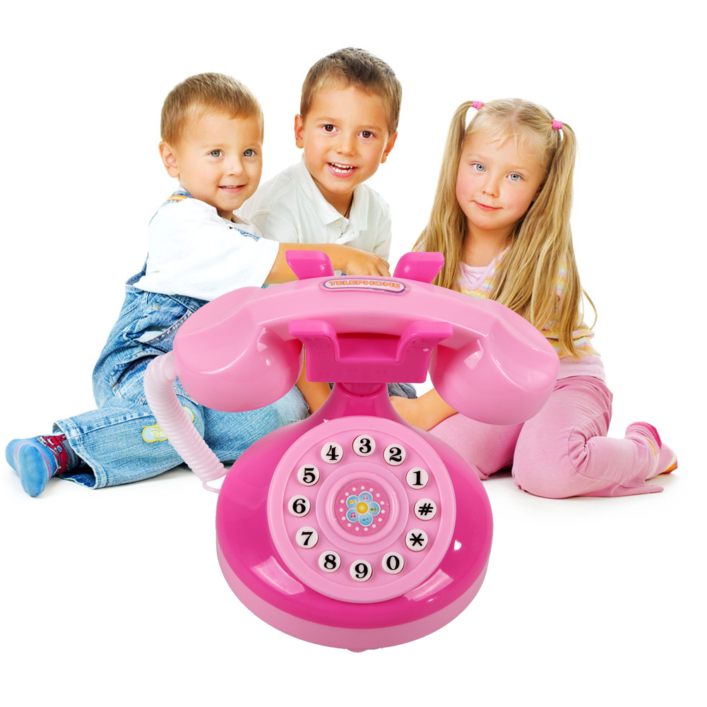 Pink Phone Pretend Play Electronic Musical With Voice And Sound Toy Pink Phone Toy Educational Children Girls Emulational Gifts