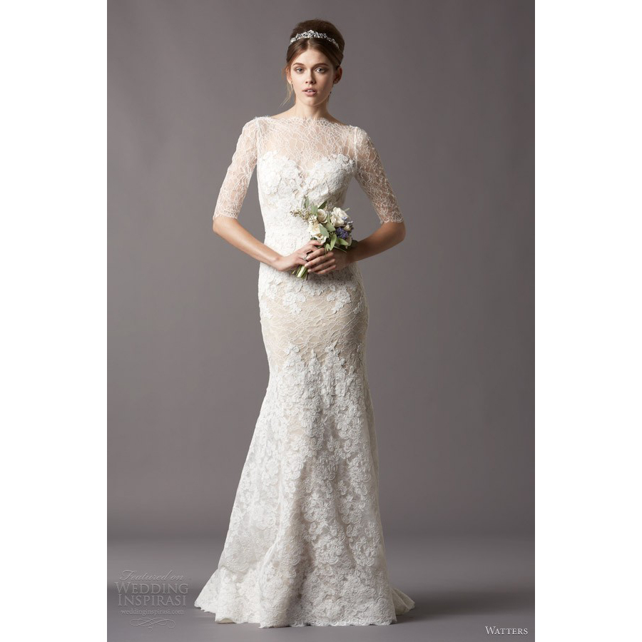 Lace Fit And Flare Wedding Gown: W178 Elegant Mermaid Church Half Sleeve Bridal Gown Long