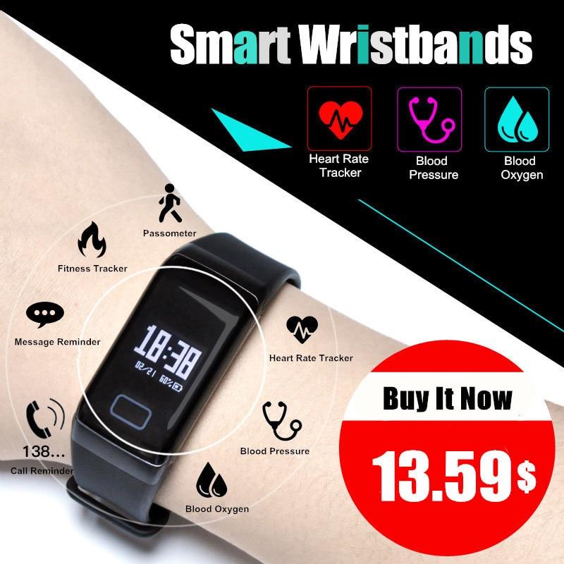 F1 Smart группа крови кислорода Приборы для измерения артериального давления Часы Фитнес спортивный браслет сердечного ритма Мониторы вызова/SMS напоминание PK fitbits miband2