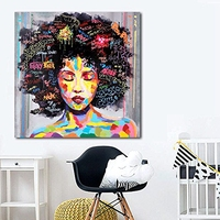 Abstract Modern African Women Portrait Graffiti Street Wall Art Canvas Oil Painting Hand Painted For Living