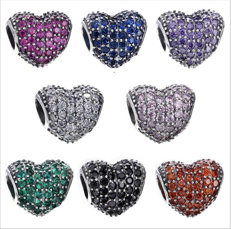 High Quality 925 Sterling Silver mosaic Clear Cz pave style heart shape Charm Bead Fits Pandora Style Bracelets DIY accessorie