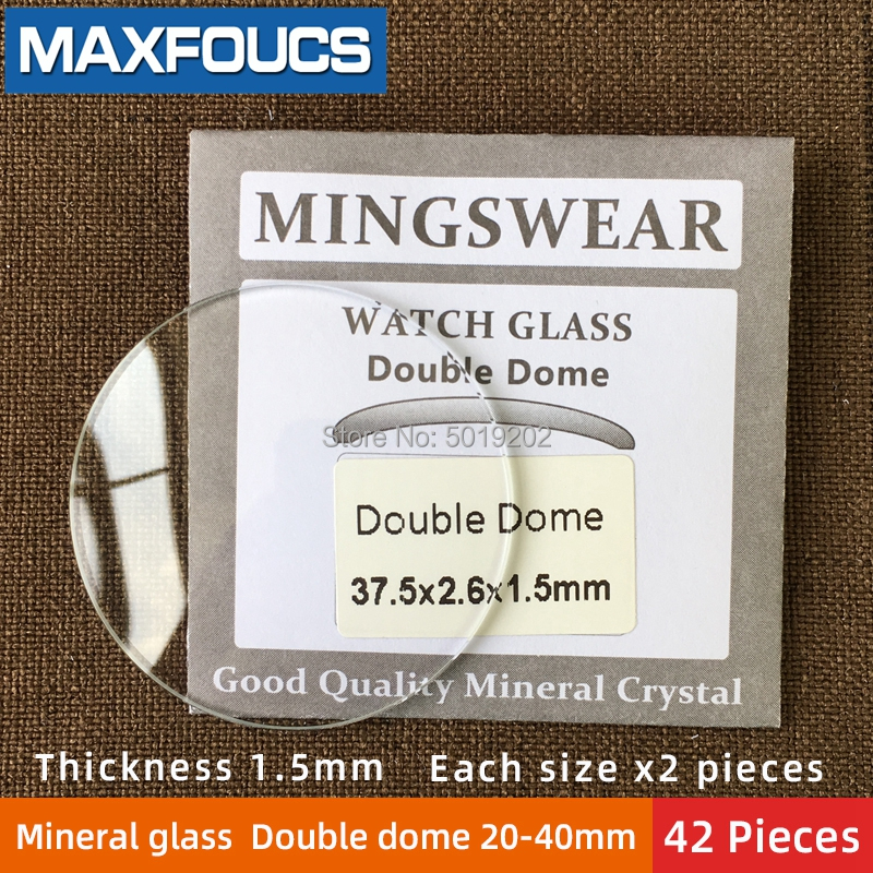 Table Glass Mineral Glass  Double  Dome  Thickness  1.5  Mm Diameter 20 Mm ~ 40mm  Each Size X 2 , A Total Of  42 Pieces