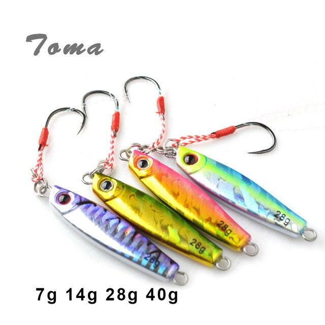 TOMA 4 pièces/lot leurre de pêche en métal avec crochet 7g 14g 28g 40g Mini gabarit appât dur coulant lentement leurre matériel de pêche cuillère