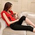 Новый летний Корейской версии женской моды показать тонкие две кусок костюм Футболка + ремень 7 брюки пижамы