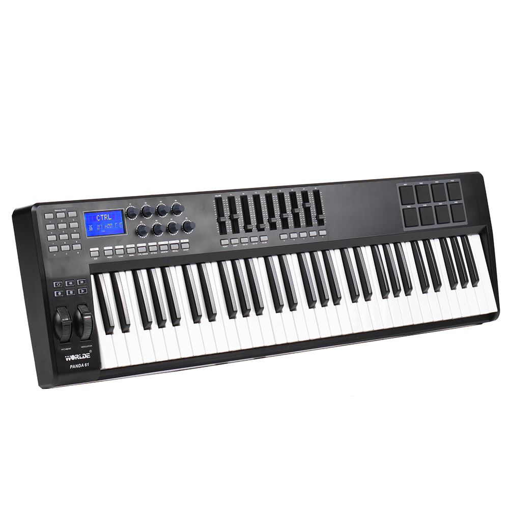 61-Key USB MIDI Keyboard Controller 8 Drum Pads with USB Cable USB interface suitable for USB 2.0