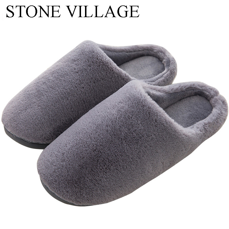 STONE VILLAGE Winter Home Slippers For Couples Women Men Slippers Soft Plush Slippers Indoor Shoes Woman Bedroom Shoes Slippers 201818 woman slippers caf