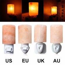 Rotatable Mini Himalayan Salt Night Light Cylinder Shape Wall Lamp Bedside Bedroom Home Decor Novelty Lighting US EU UK AU Plug