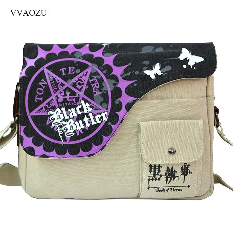 Japan Anime Black Butler Bag Kuroshitsuji Sebastiane Shoulder Bag Schoolbag Canvas Student Messengeer Bags for Boys Girls цена