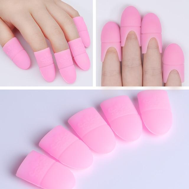 5 sztuk/zestaw Soak-Off Żel UV Polski Remover Wraps Silikonowe Klip Manicure Nail Art Narzędzia Różowy Czarny Biały Kolor