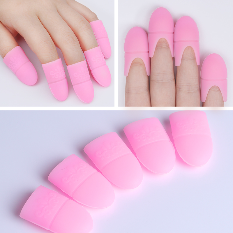 5pcs/set UV Gel Polish Remover Wraps Silicone Soak Off Cap Clip Manicure Nail Art Tools Pink Black White Color