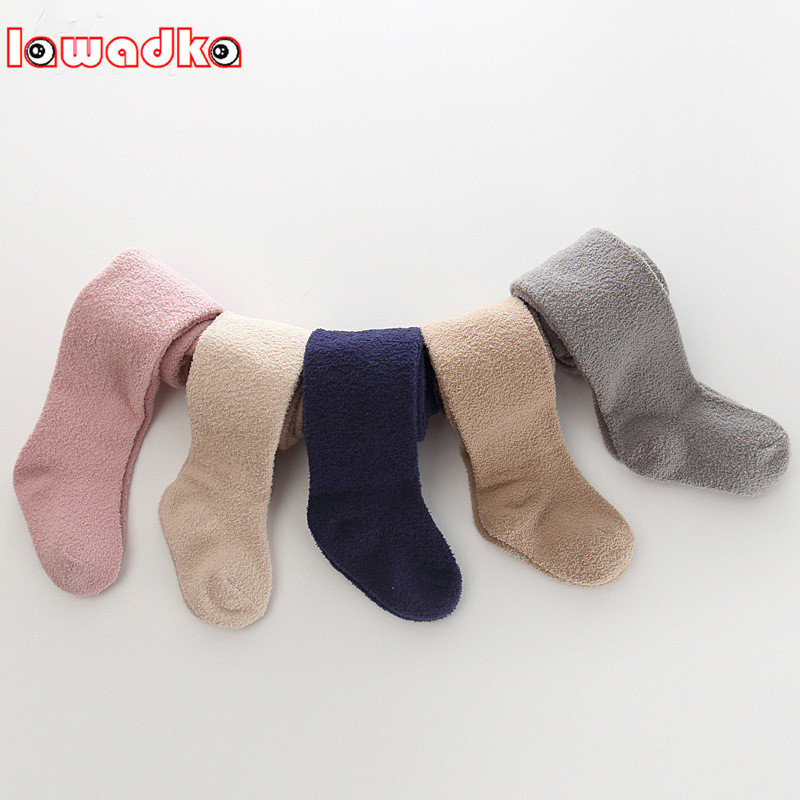 Lawadka Brand Newborn Warm Soft Baby Girl Tights Infant Solid Leg Warmers Pantyhose Baby Stockings