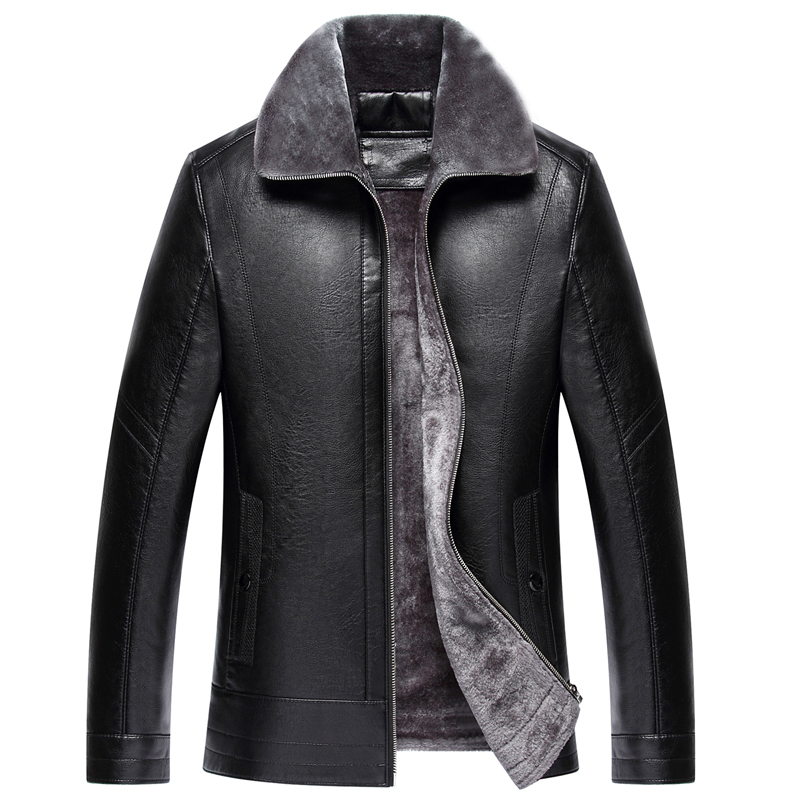 Free Shipping Hot Sale Winter Thick Leather Garment Casual flocking Leather Jacket Mens Clothing Leather Jacket Men