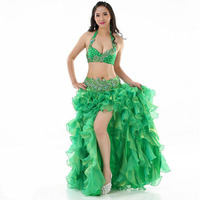 High Quality Luxury Belly Dance Suit Nice Beaded Belly Dance Costumes Bra Belt Skirt Sexy Oriental